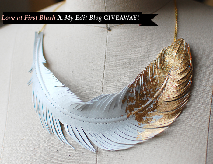 Custom Golden Gilded Feather Leather Necklace in Ivory White