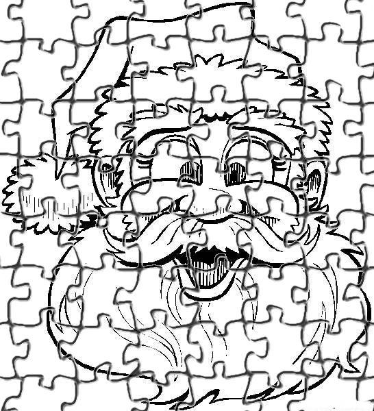 Desenhos Preto e Branco Quebra cabeça do papai noel para recortar Colorir
