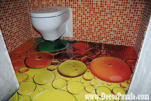 3d bathroom floor murals designs, self-leveling floors for small bathroom flooring ideas