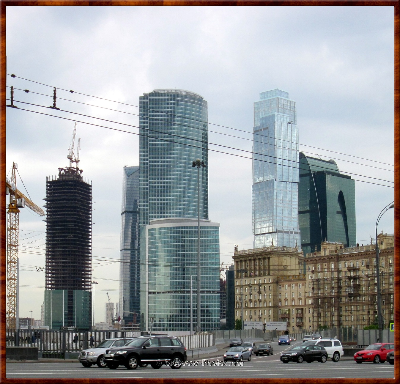 Moscow City at rainy and overcast day