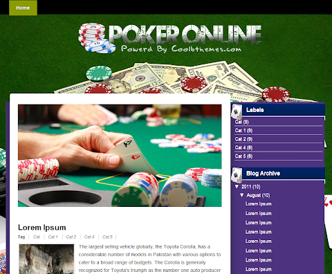 Poker Online Blogger Theme