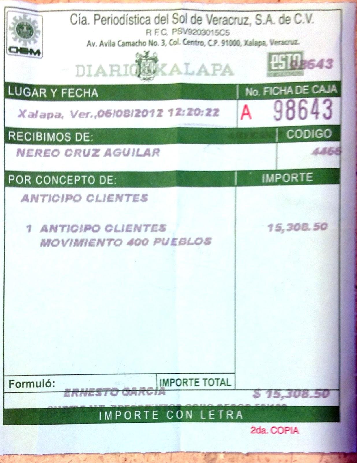 Image Recibo Del Pago De La Carta Abierta Que El Diario Xalapa Se Nego ...