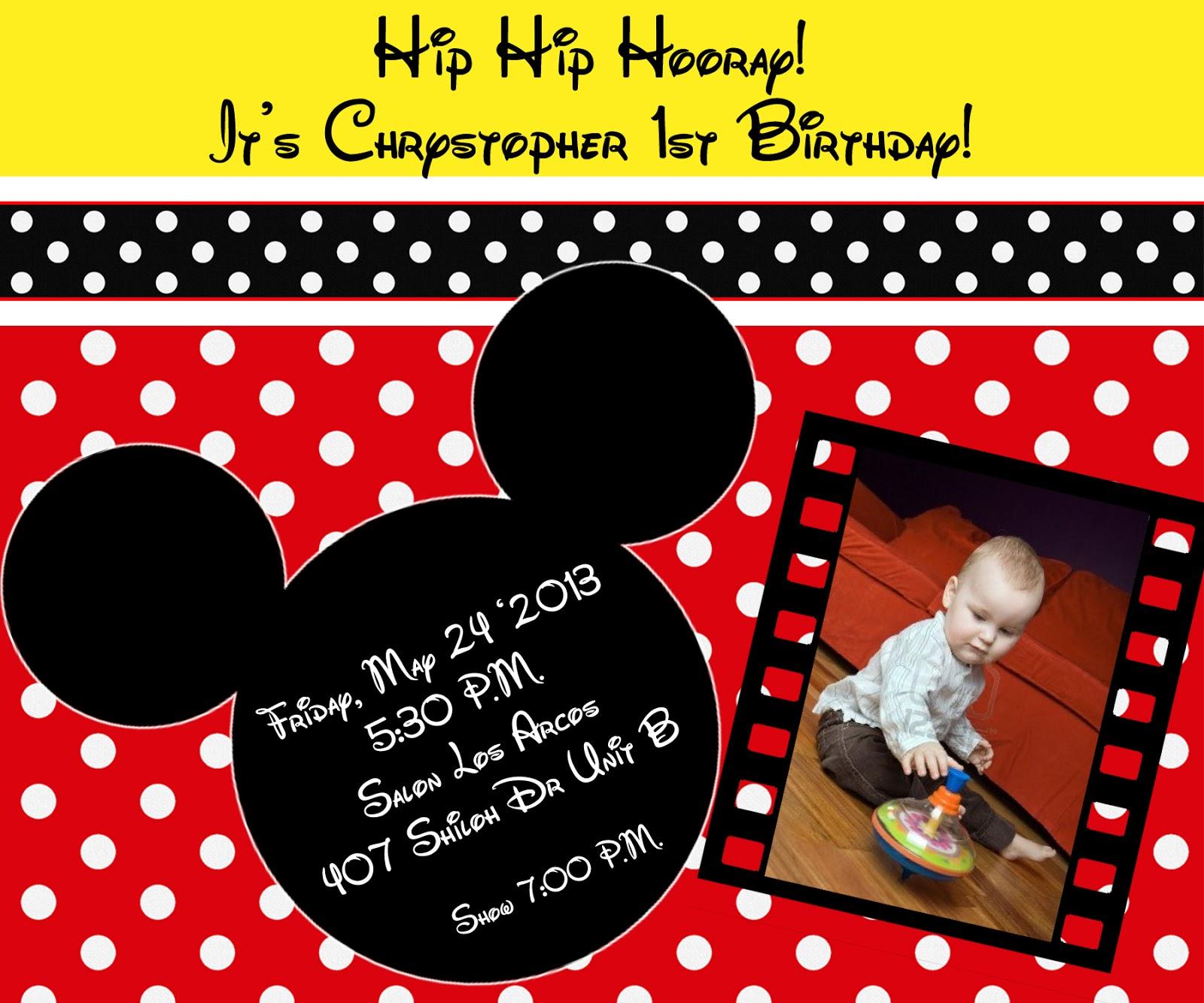 Diseños para tarjetas de invitación de Mickey Mouse - Imagui