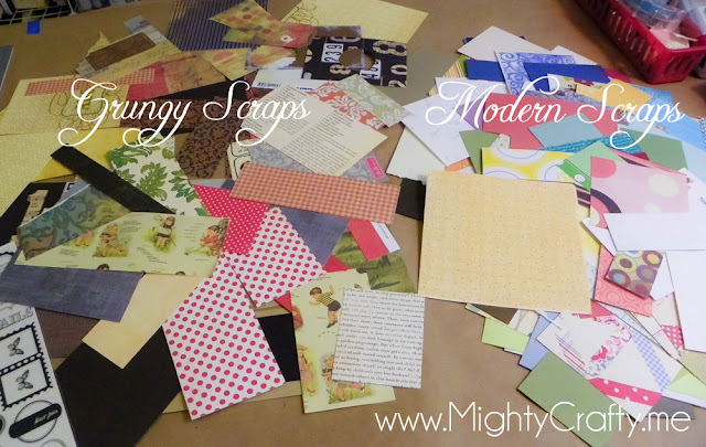 Paper scrap sorting - www.MightyCrafty.me