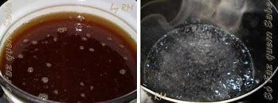 Ferver o óleo e a água para fazer sabão.