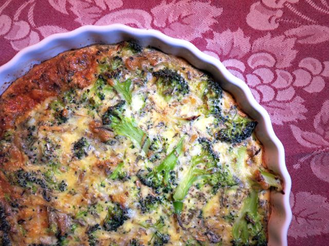 brocolli + cheese + eggs - crustless tart