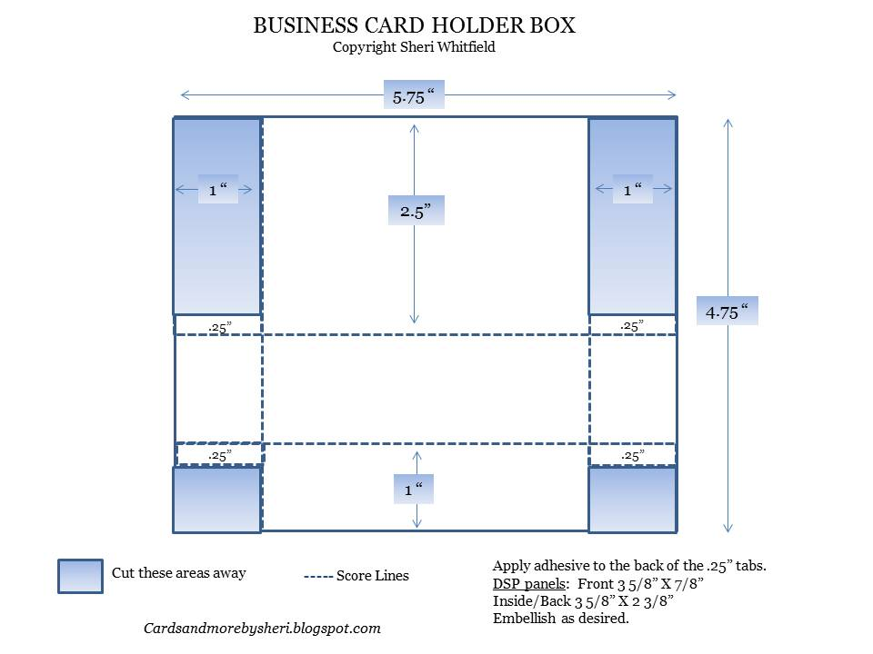 Cards and more by sheri business card holderbox tutorial hopefully when you click on the image and blow it up you can see the dimensions if not email me and ill be glad to send it to you reheart Images