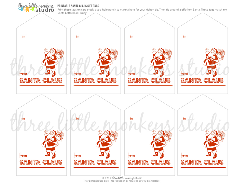 free santa letterhead and santa gift tags three little monkeys studio