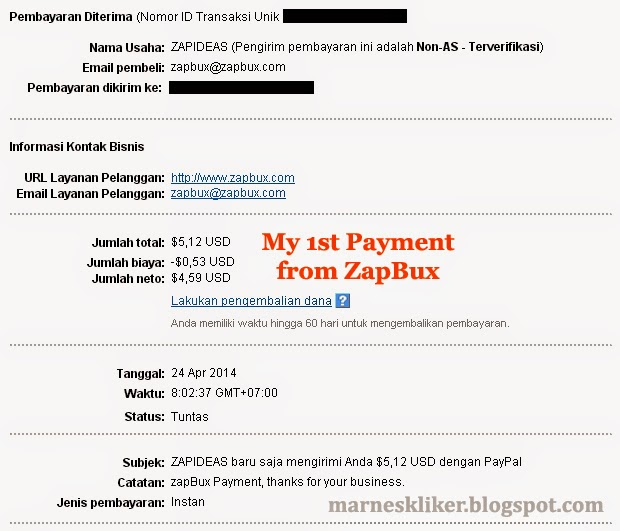 Payout Perdana dari ZapBux