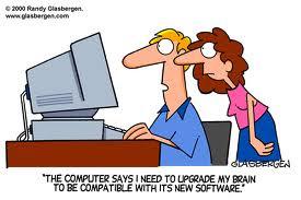cartoon of couple looking at computer