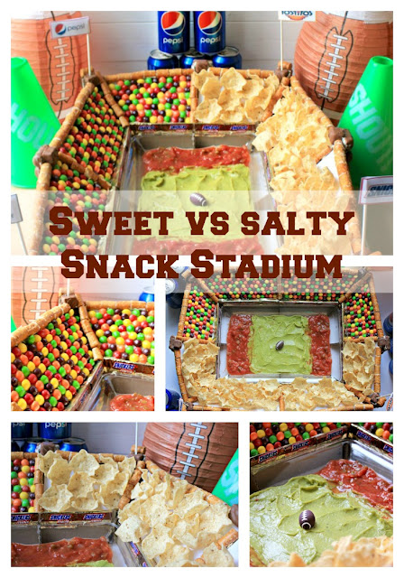Everything you need to build a sweet vs salty snack stadium for your next football party! #GameDayGlory #ad
