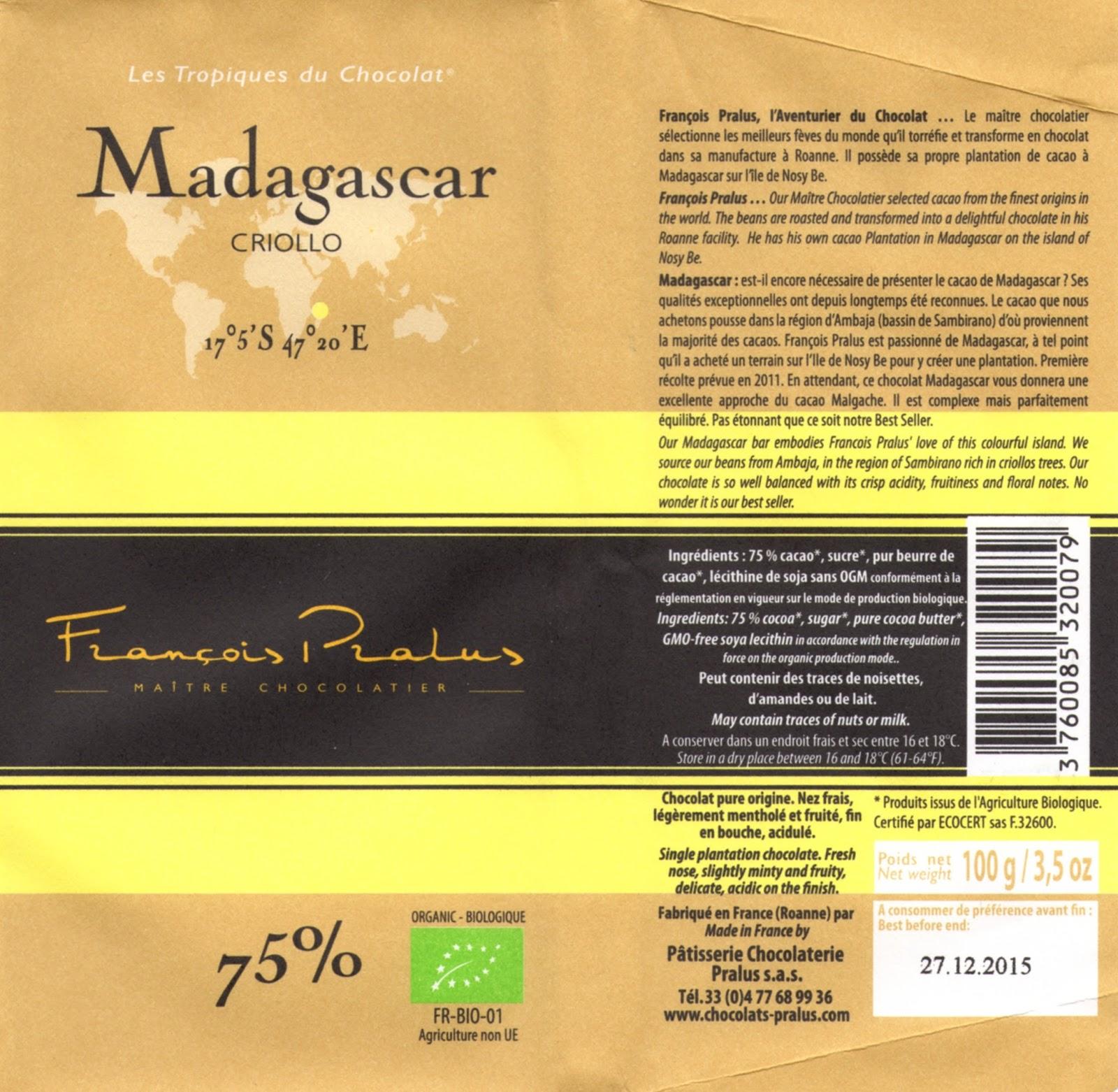 tablette de chocolat noir dégustation pralus noir madagascar criollo 75