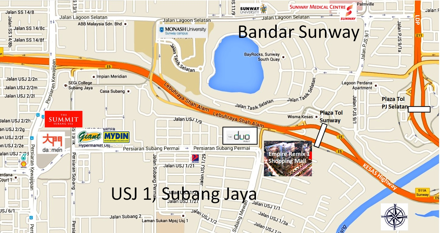 NEW PROPERTY PROJECTS FOR SALE - Usj 1 location map