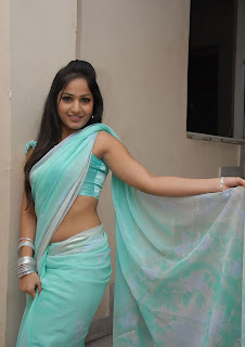 madhavi latha hot photos in Blue saree+(9)