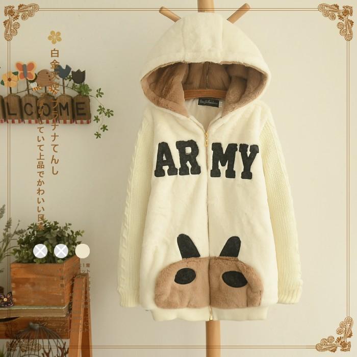 áo khoác nhật bản gấu teddy kèm chữ army