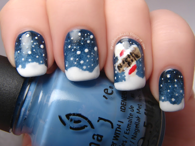 nails nailart nail art polish mani manicure Spellbound ABC Challenge n is for It's snow snowing at the North Pole night winter Christmas holiday China Glaze First Mate Secret Periwinkle Peri-Wink-Le Poinsettia