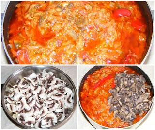 preparare zacusca de ciuperci cu vinete ardei si gogosari, retete culinare, retete zacusca, reteta zacusca, retete de mancare, cum facem zacusca de casa din legume traditionala, cum se face zacusca,