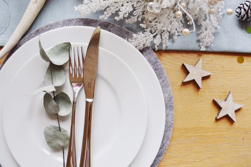 Scandinavian style table dressed for christmas