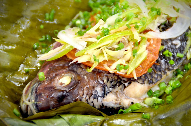 Steamed Tilapia in Banana Leaves