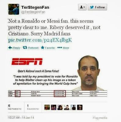 Selecionador do Qatar diz que foi obrigado por Blatter a votar em Cristiano Ronaldo
