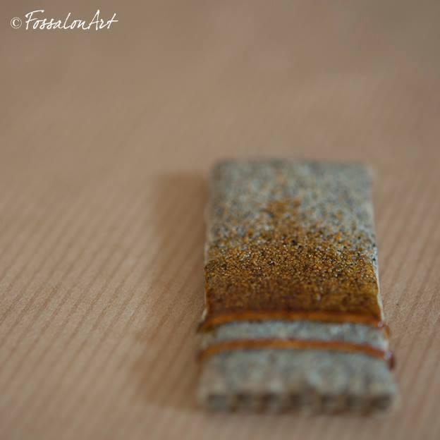 Lastra di corda, sabbia e gommalacca