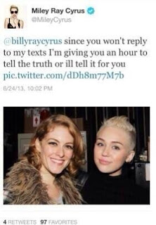 Miley Cyrus Threatens Dad, Billy Ray, affair