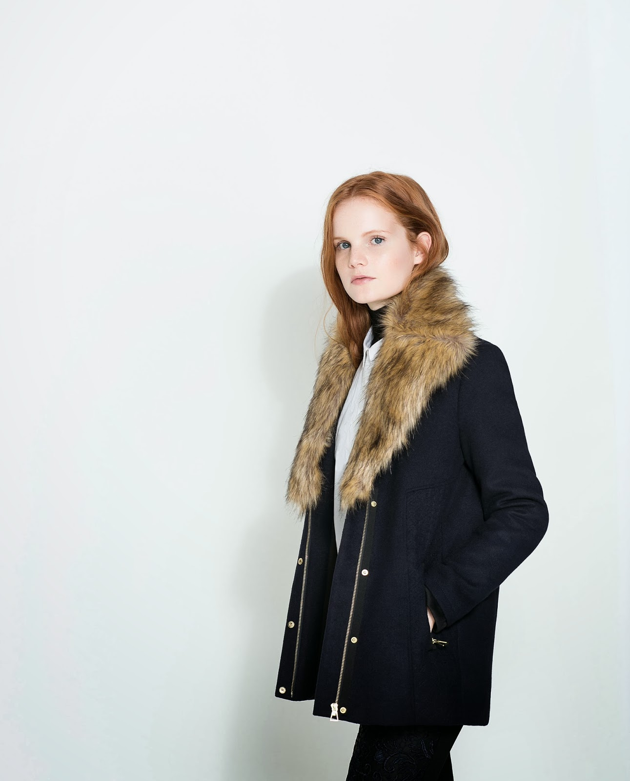 zara fur collar coat