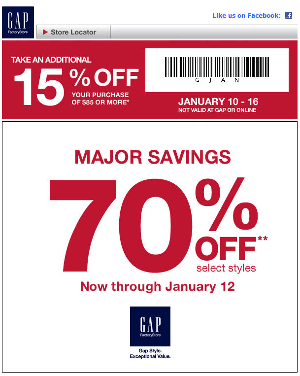 graphic about Gap Factory Printable Coupon identify Hole Manufacturing unit Canada: Preserve 70% Off Pick Types and 15% Off