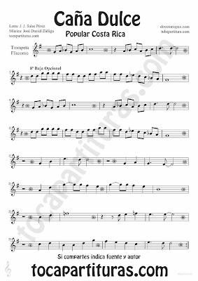 Tubepartitura Caña Dulce de J. Daniel Zúñiga y J.J. Salas Pérez partitura para Tromepta y Fliscorno canción Tradicional de Costa Rica
