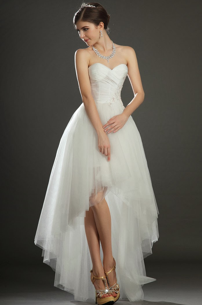 chic short dress stylish high low style wedding dresses