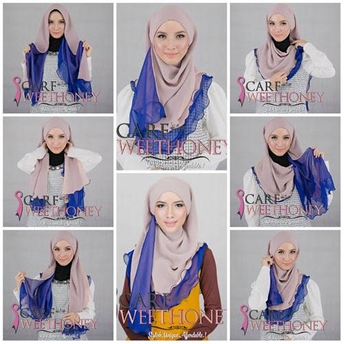 cara memakai hijab modern 2 warna