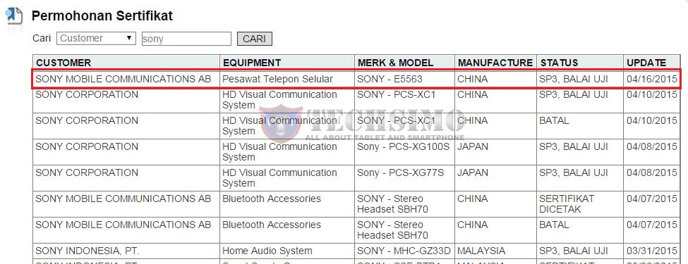 Sony Xperia C4 E5563 sudah mendapatkan sertifikasi postel Indonesia