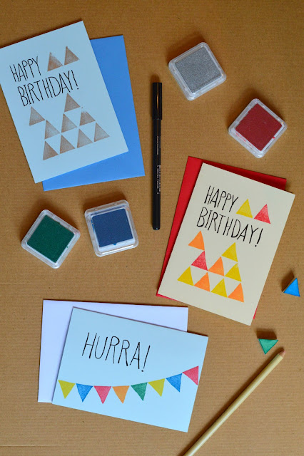 DIY cards with stamp made from eraser
