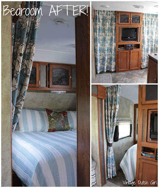 Vintage dutch girl travel trailer makeover part 8 for Rv with 2 master bedrooms