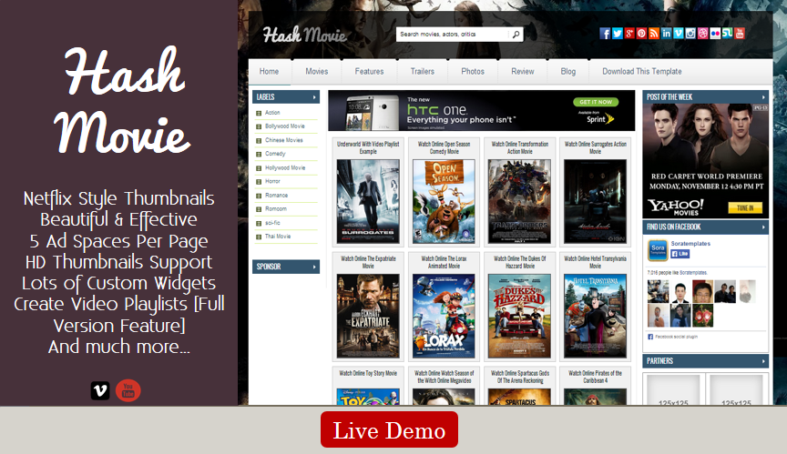 Hash Movie Blogger Template - Stylish Premium Blogger Template ...