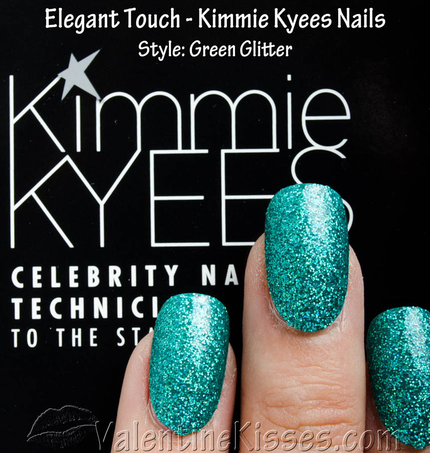 Valentine Kisses: Elegant Touch Kimmie Kyees Nails in Green Glitter ...