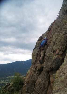 Benjamin Rubenstein rock-climbing in Estes Park