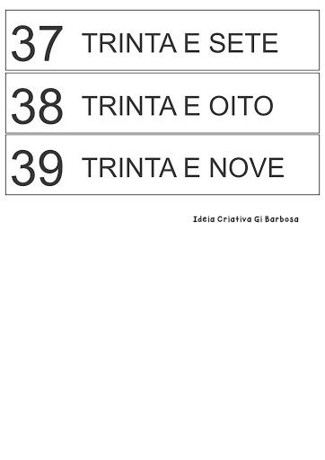 Fichas Numeradas 30 a 39