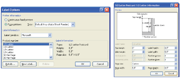 Label Option dan pemilihan jenis kertas.
