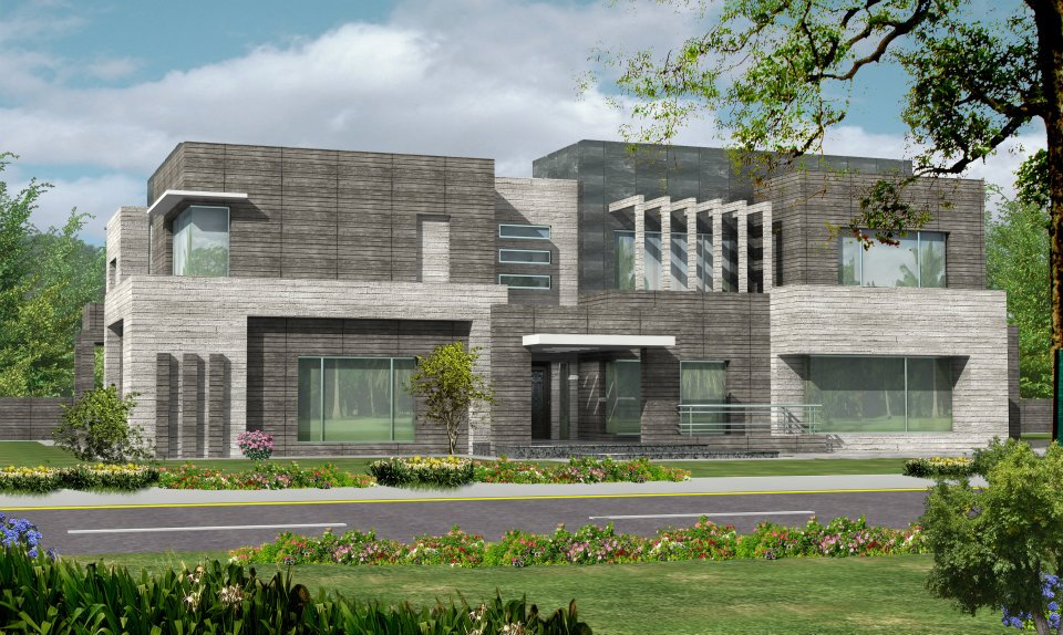 Karachi 2 kanal Modern Contemporary Beautiful House Design + Basement Plan Lahore Pakistan 3d Front elevation