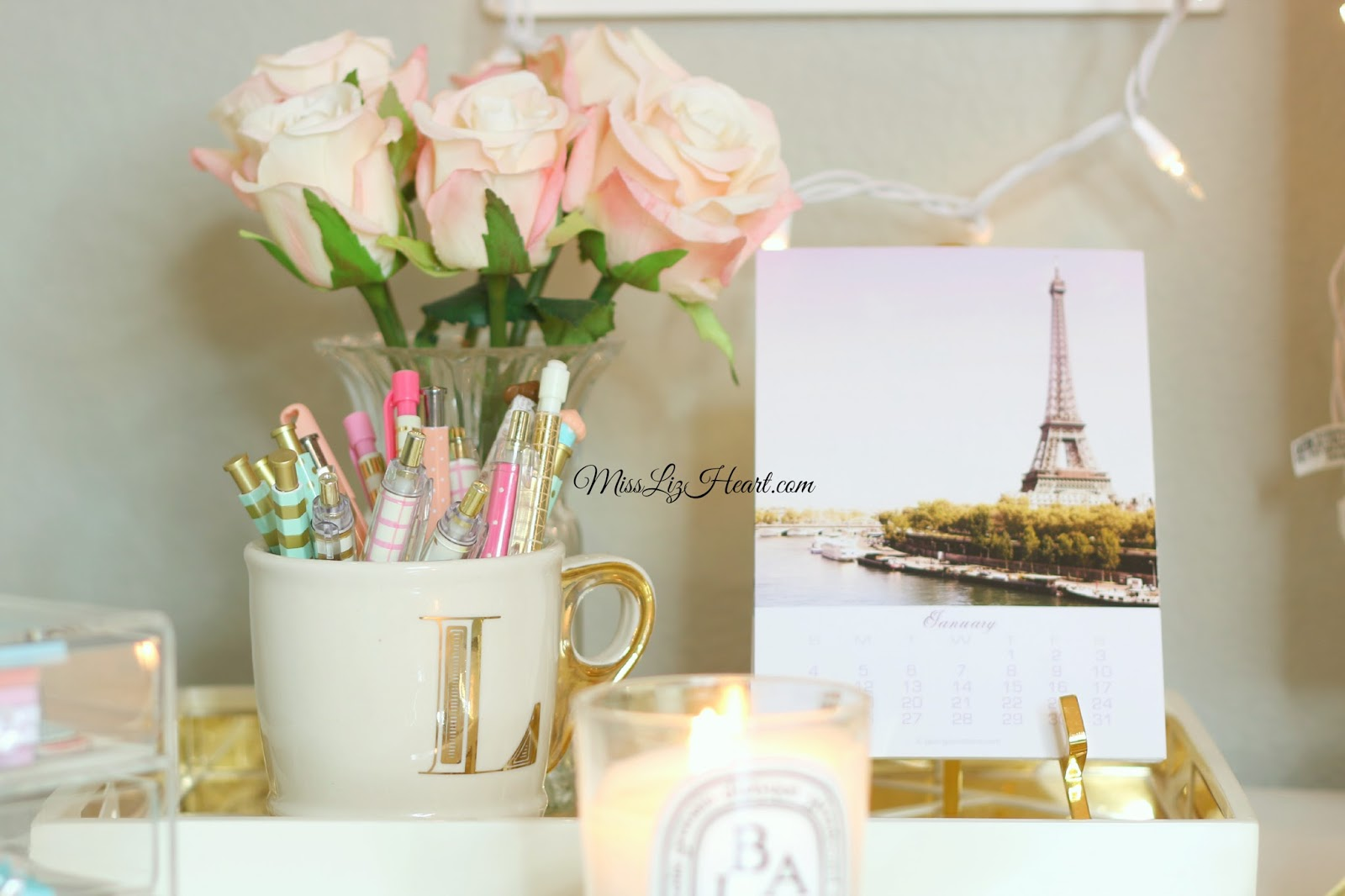 girly office decor. Miss Liz Heart Updated Desk Tour Video Girly Office Decor