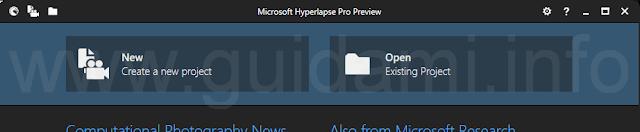 Microsoft Hyperlapse Pro apri crea progetto