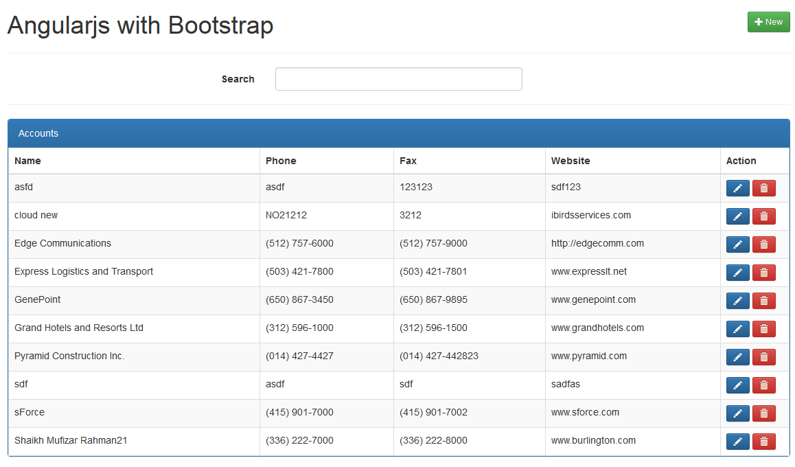 Salesforce Visualforce Demo With Angularjs And Bootstrap Ibirds