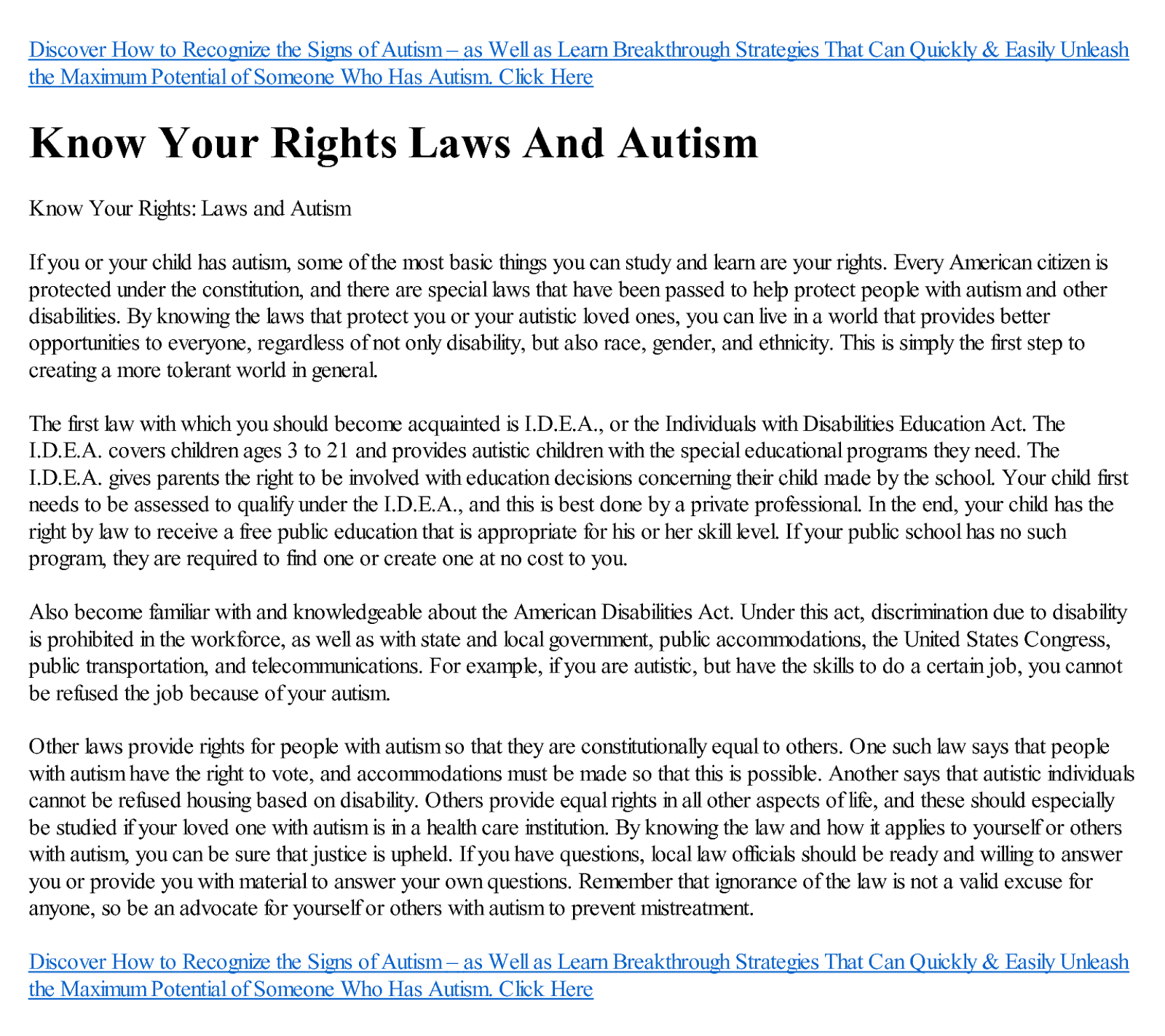 Blog Autism Know Your Rights Laws and Autism