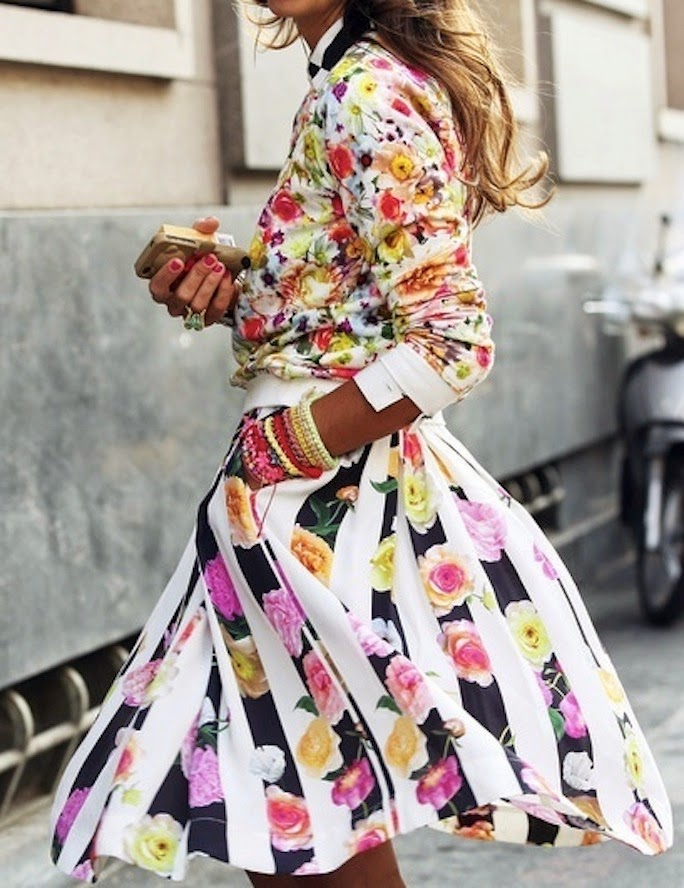 floral print bomber jacket and skirt