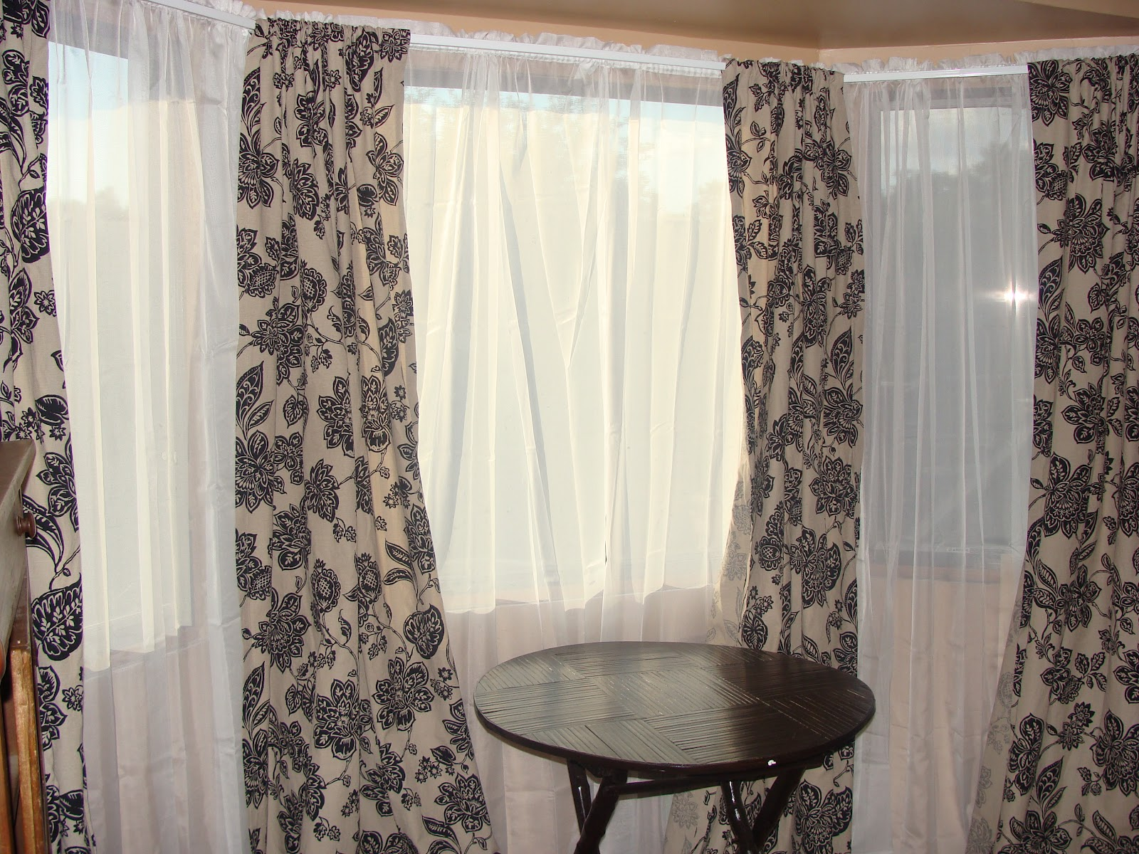 Owen family six bay window curtains for Window design with curtains