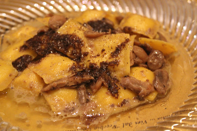 Ravioli with mushrooms and truffle at Coquinarius, Florence, Italy