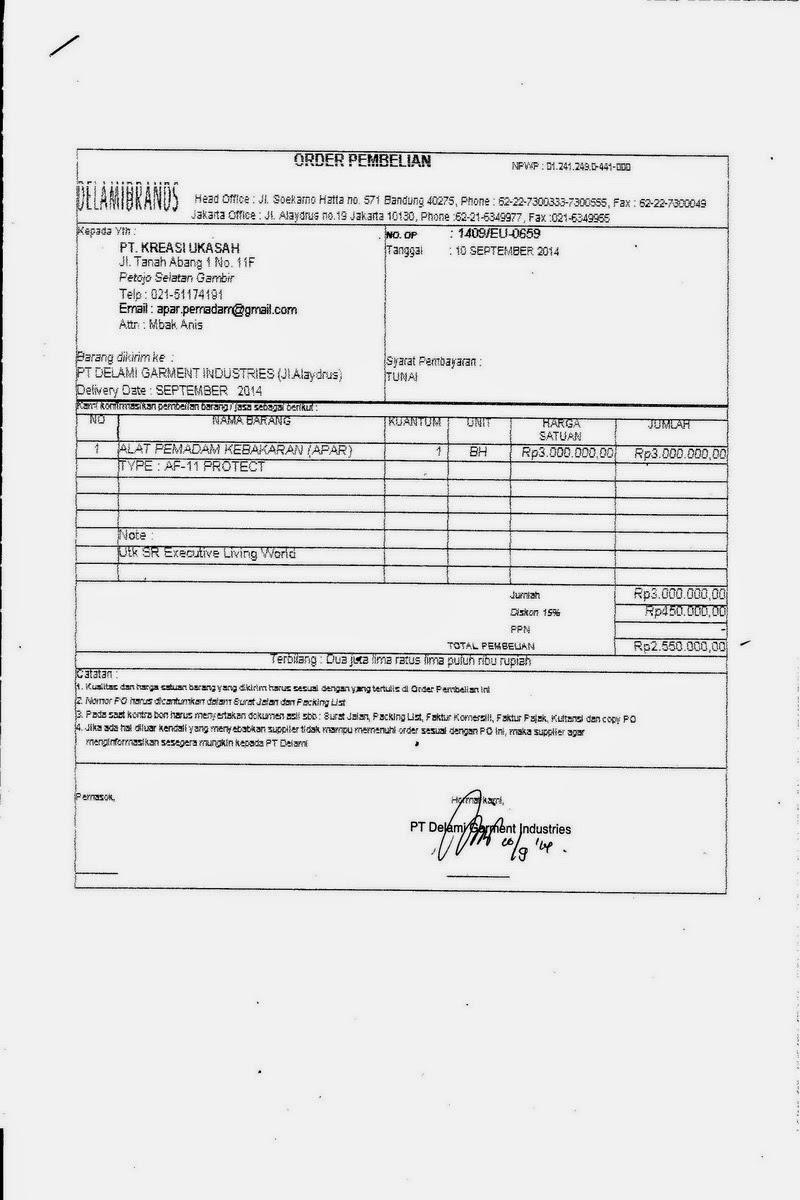 PO PT. Delamibrands Garment Indonesia