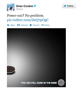Oreo won advertising Super Bowl!