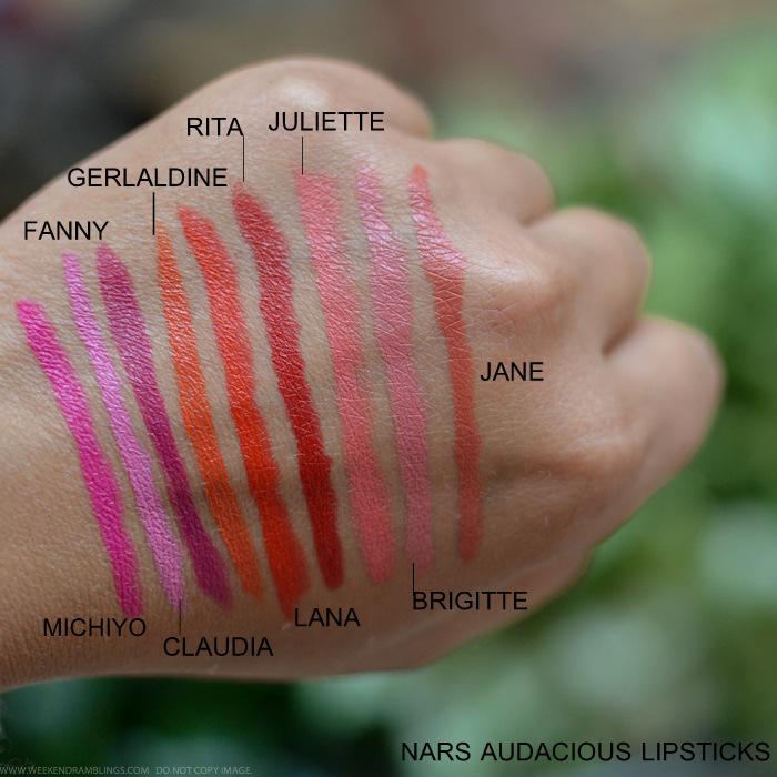 NARS Audacious Lipsticks Swatches Michiyo Claudia Fanny Geraldine Lana Rita Juliette Brigitte Jane